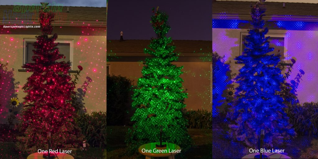 Christmas Trees with Single Red, Green or Blue Laser Lights