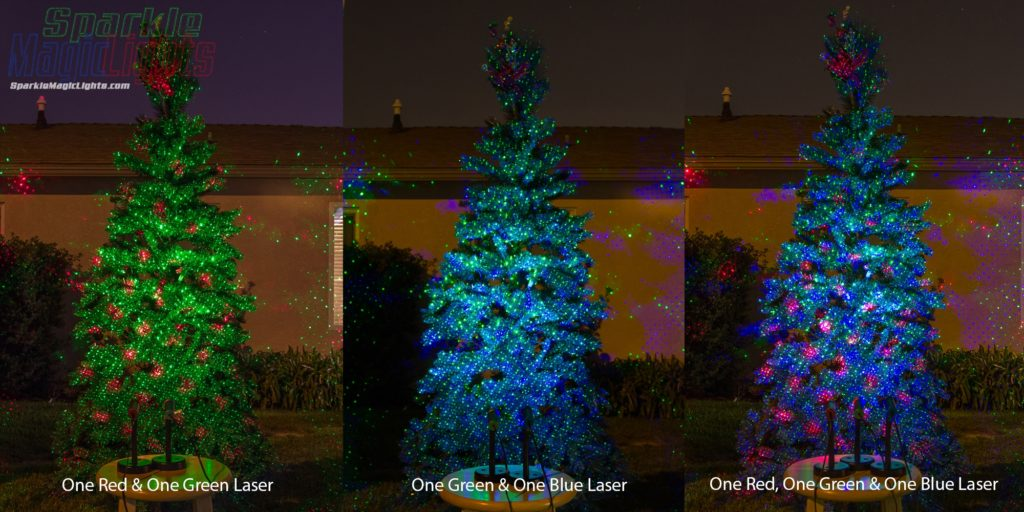Add more than one laser light for dramatic effects! Mix patterns & colors. Green+Blue = Teal/Turquoise, Blue+Red = Purple, Green & Red = Christmasy!