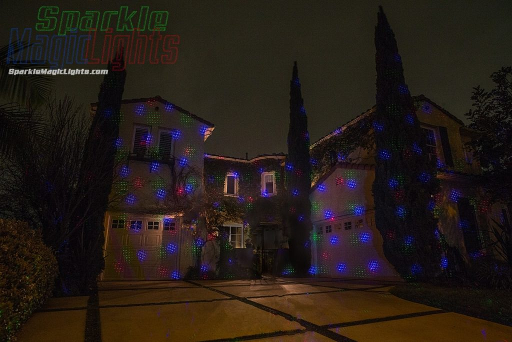 All 3 laser colors decorating a house
